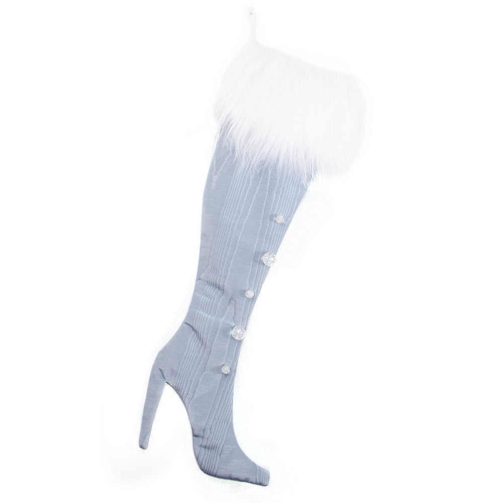 Luxury Christmas Stocking, Boot Christmas Stocking, High Heel Christmas Stocking, Steel Blue, Fancy Stiletto Christmas Stocking