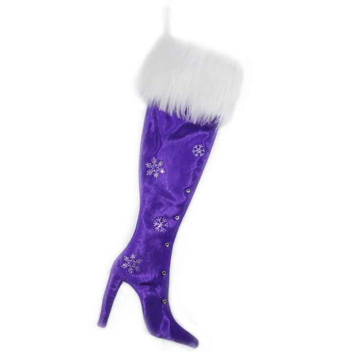 Luxury Christmas Stocking, Satin Christmas Stocking, High Heel Christmas Stocking, Purple Snowflakes Stiletto Christmas Stocking
