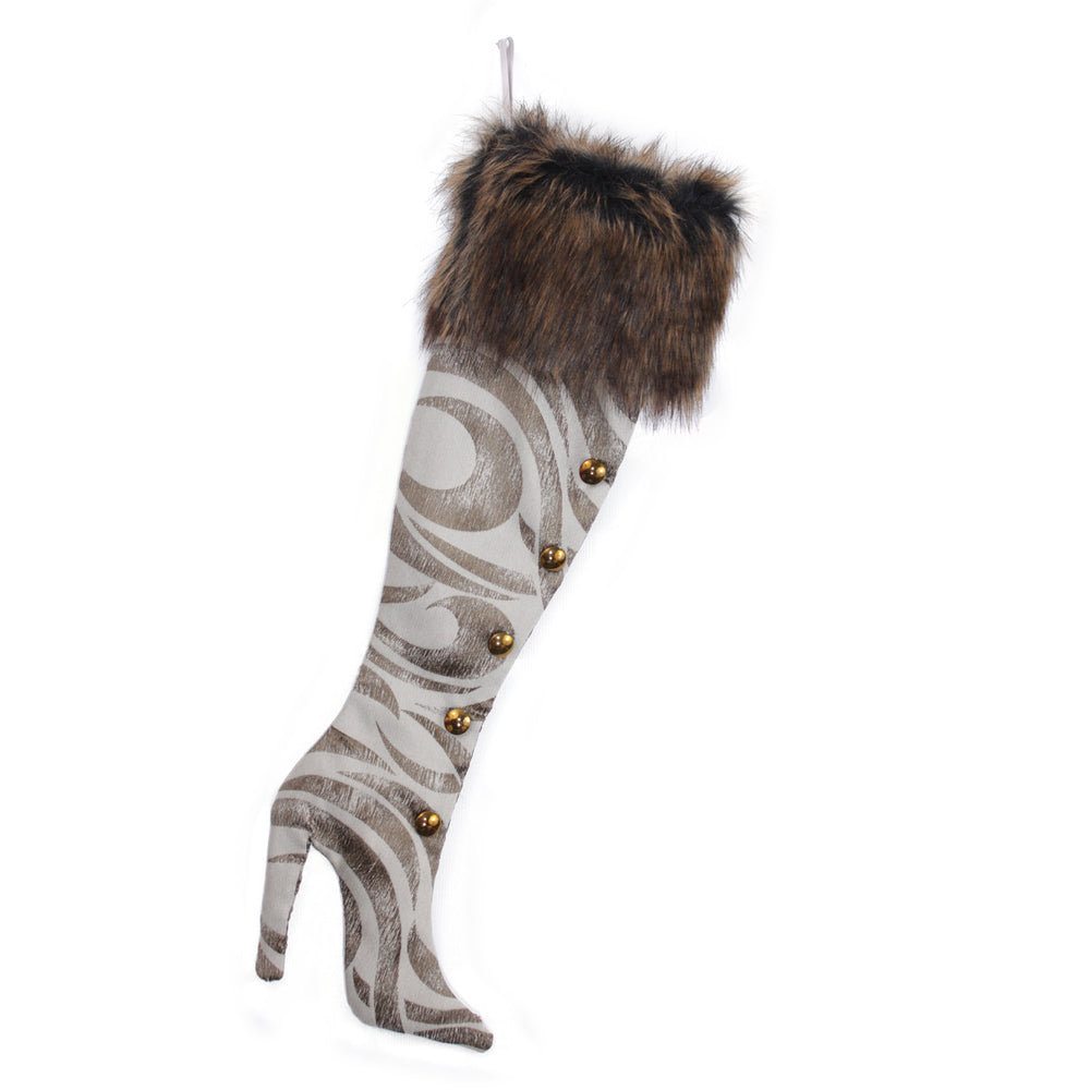 Luxury Christmas Stocking, Boot Christmas Stocking, High Heel Christmas Stocking, Tan Zebra Stripes, Fancy Stiletto Christmas Stocking