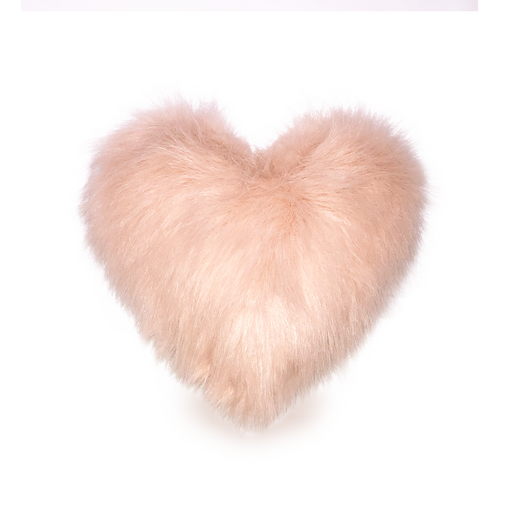 Pink Faux Fur Heart Pillow - Mother's Day Gift - Heart-Shaped Pillow