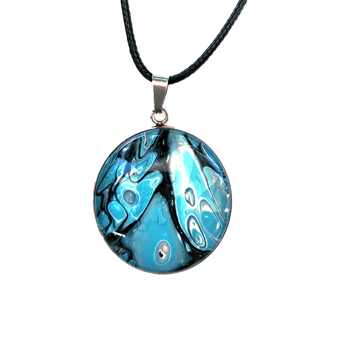 Wearable Art Jewelry, Fluid Art Pendant, Acrylic Paint Pour Jewelry . Galaxy Necklace. Abstract Art Pendant