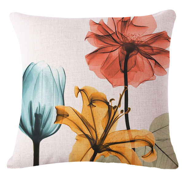 Xray Photographic Floral Throw Pillow Cover