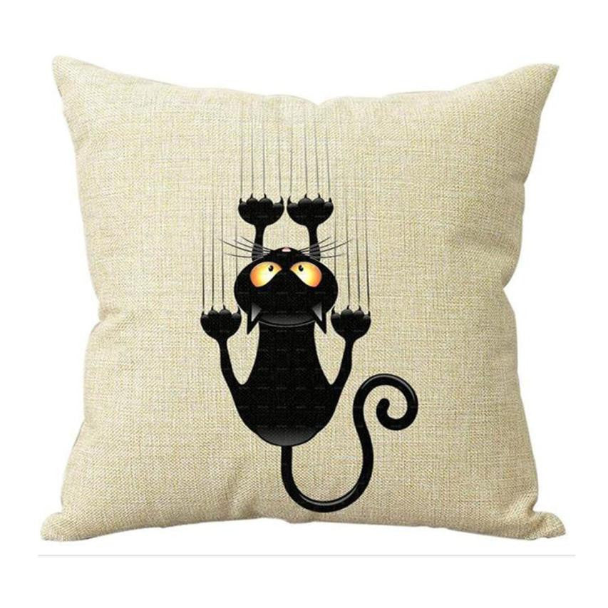 Scaredy Cat Throw Pillow Cover