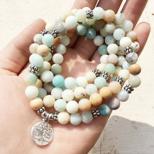 Amazonite Mala Bracelet with 108 Frosted Amazonite Stone Beads and Charm