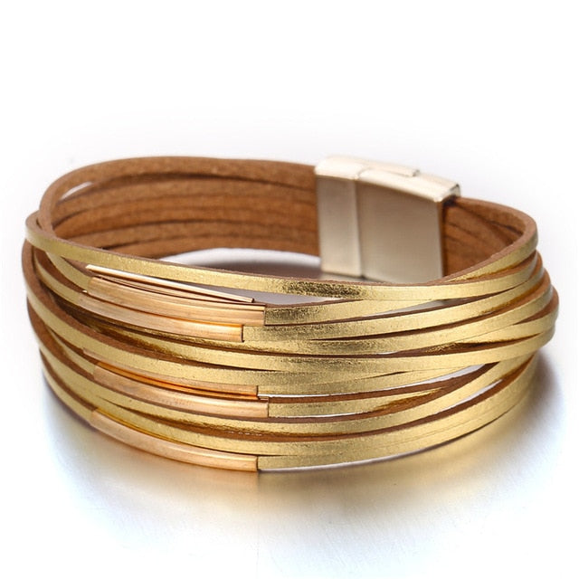 Shimmery Leather Wrap Bracelet