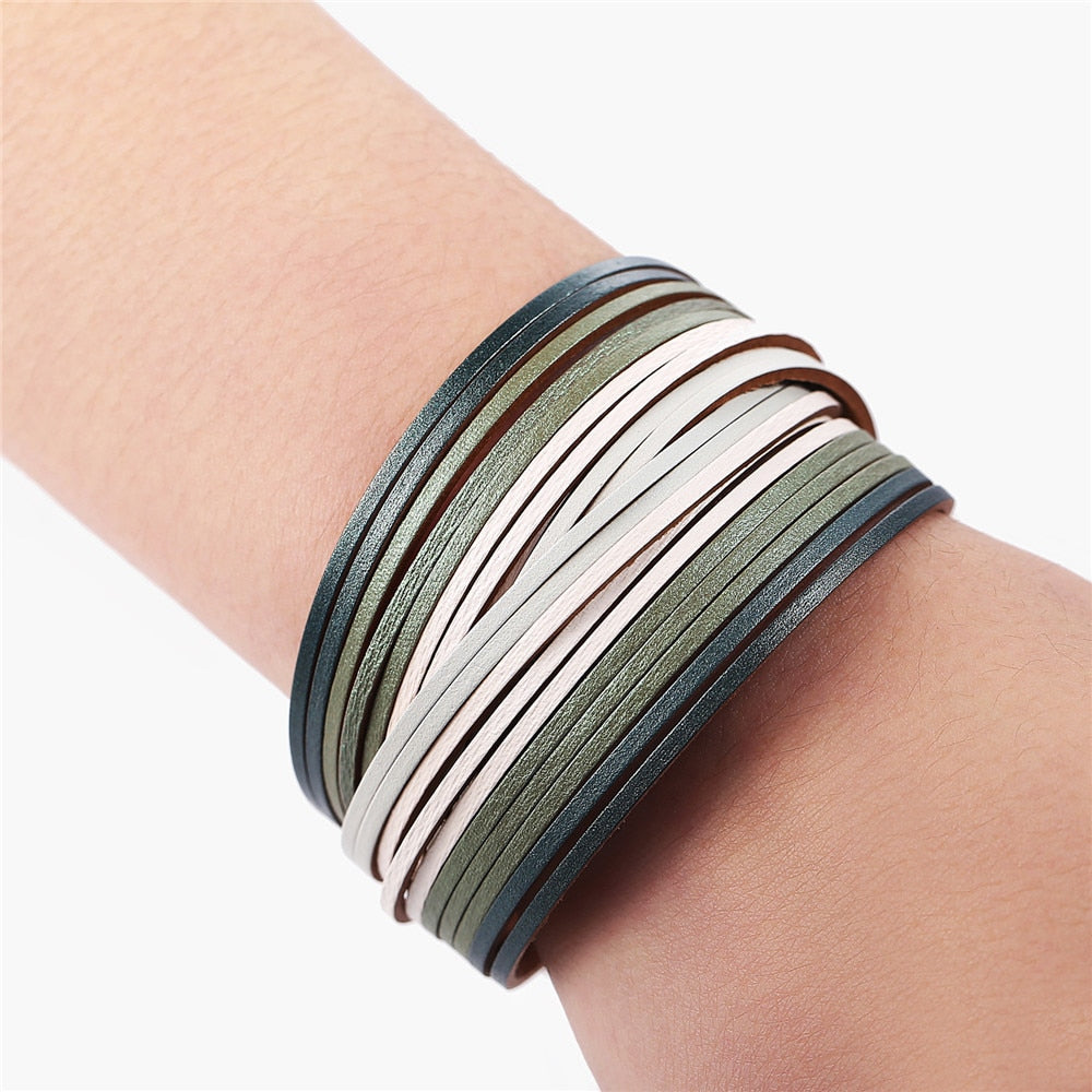 Strappy Leather Wrap Bracelet
