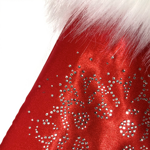Glamorous Red Satin Christmas Stocking with Snowflake Rhinestone Trim and Faux Fur