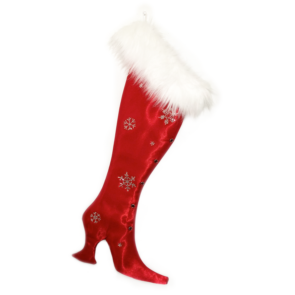 Luxurious Red Satin Victorian Christmas Stocking with Bling!