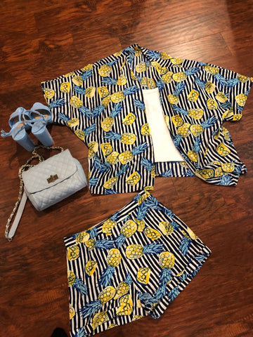 Pineapples 2 piece shorts set