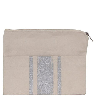 Brushed Canvas Pocket Clutch with Metallic Stripes