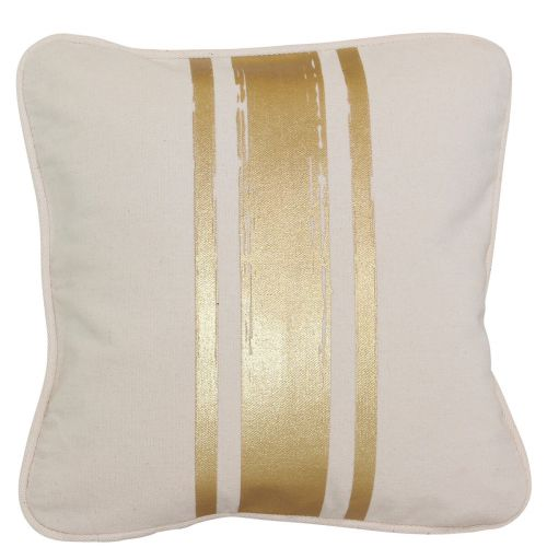 Brushed Canvas Pillow with Metallic Stripes