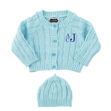 Monogrammed Mudpie Blue Cable Knit Sweater & Cap Set
