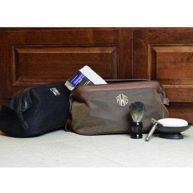 Monogrammed Brown Bellemonde Men's Scotch Grain Dopp Kit