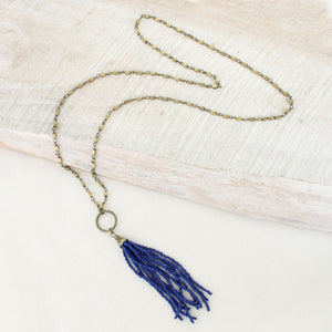 Blue Gameday Bead Tassel Necklace
