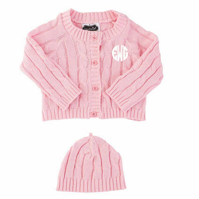 Mudpie® Cable Knit Sweater & Cap Set