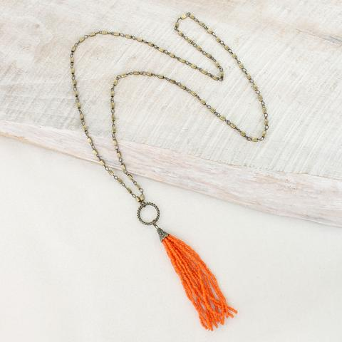 Orange Gameday Bead Tassel Necklace