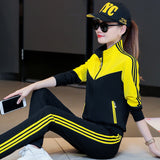 Sports suit female autumn 2018 new fashion tide Korean version of the long-sleeved middle-aged collar casual two-piece teacher garden uniform - Cadeau Me