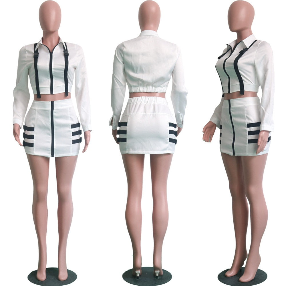 Adogirl 2018 Sexy Zipper 2 Piece Set Casual Women Sets Short Blouse + Skirt Set Fashion Female Suit with Buckles Slim Outfits
