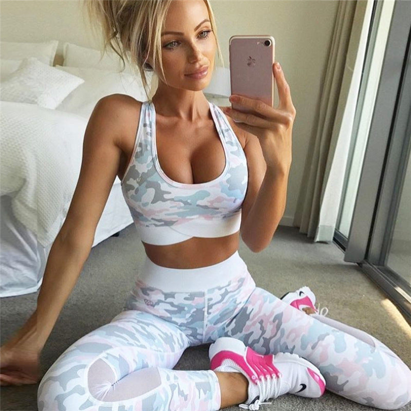 Camouflage Mesh Fitness Sport Suits Women's Yoga Clothing Set Sexy Workout Sportswear Female Tracksuits Athletic Running Clothes - Cadeau Me