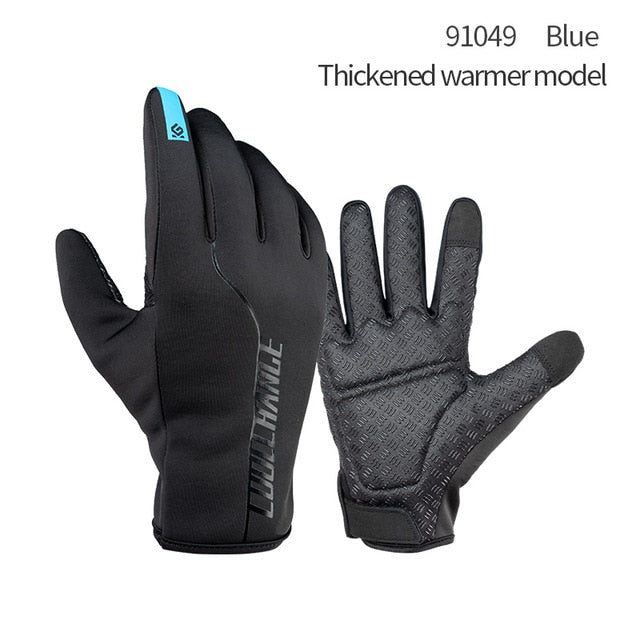 CoolChange Winter Cycling Gloves Thermal Warm Windproof Full Finger Bike Gloves Anti-slip Touch Screen Bicycle Gloves Men Women