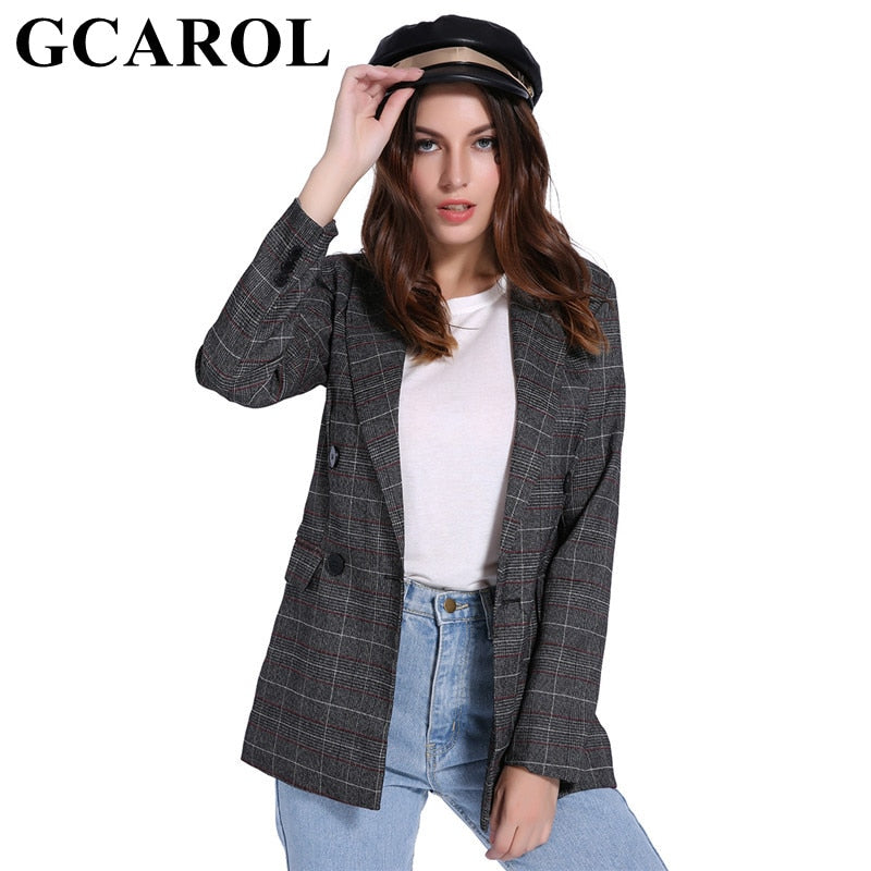 GCAROL 2018 Autumn Winter Women Double Breasted Blazer Notched Collar Plaid Pattern Slimming OL Business Suit Elegant Outwear