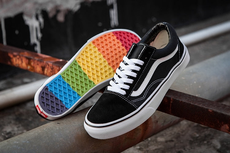 Vans Old Skool Rainbow bottom classic black and white strip Men and Womens  canvas shoes Weight lifting shoes Model F6 Eur 36-44