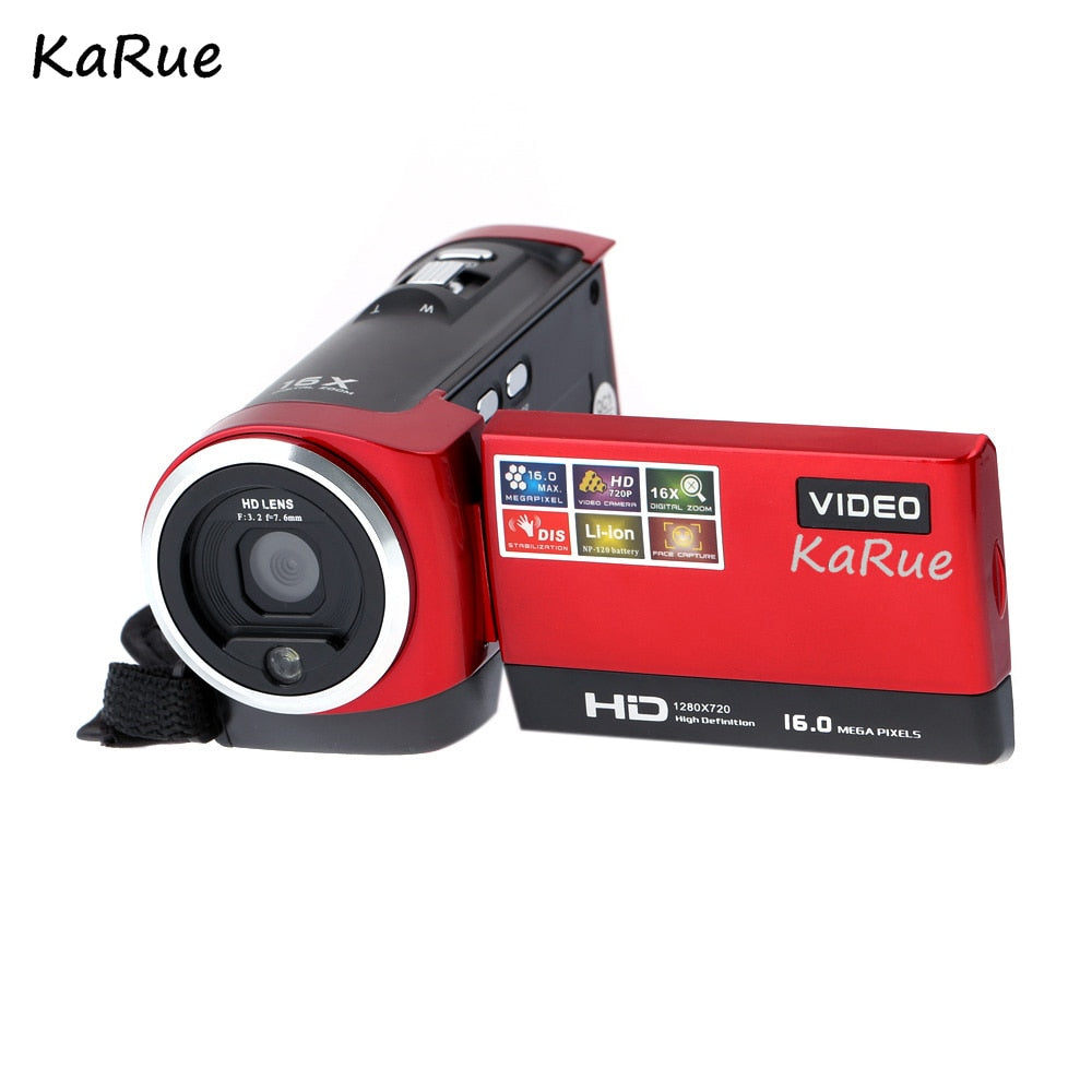 "KaRue 2.7"" TFT LCD 16MP Digital Camera HD 720P Photo Video Camcorder 16X Zoom Anti-shake  LED Fill Light Non-touch Cheap Camera - Cadeau Me"