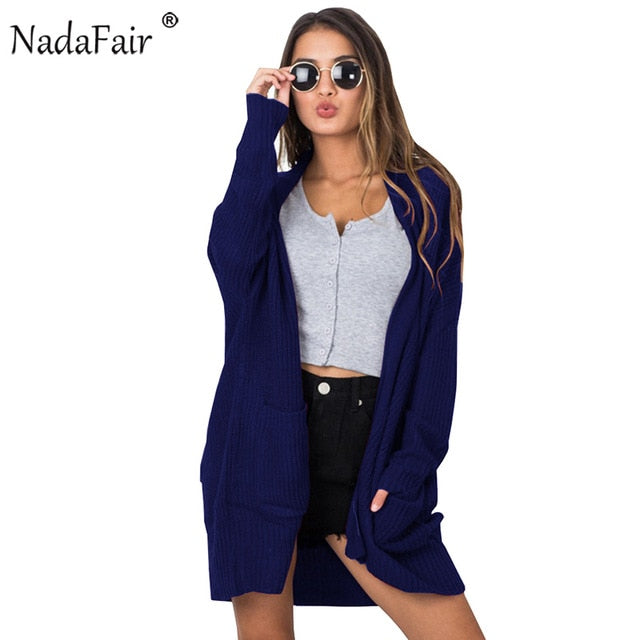 Nadafair Open Stitch Pockets Women Autumn Winter Cardigans Casual Long Sweaters Women Solid S Knitted Long Coat