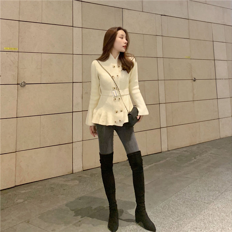 double-breasted Slim retro horn long-sleeved knit cardigan shirt women - Cadeau Me