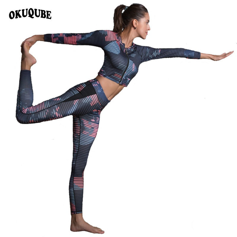 OKUQUBE New Women Sports Suit Striped Fitness Clothing Two Pieces Yoga Set Printed Crop Top+Gym Leggings S-XL Sportswear Female