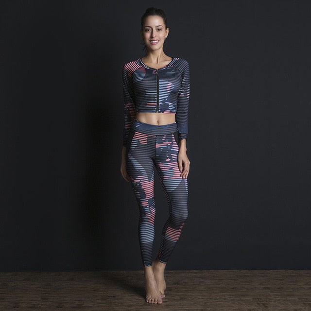 Sexy Women Yoga Set Gym Wear Running Clothing Tracksuit Ensemble Sport Suit Fitness Long Sleeve Sportswear Zipper Top Leggings - Cadeau Me