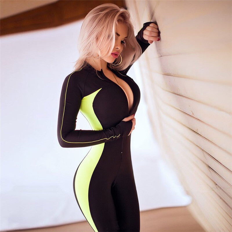 Tanksuits Fluorescent Color Patchwork Female Push Up Fitness Autumn Winter Full Sleeve Zipper Turtneck Women's Sexy Yoga Sets