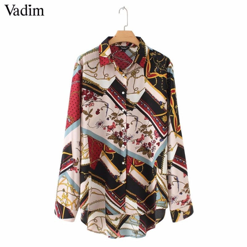 ec241d3f42b883 ... Vadim women vintage Geometric pattern blouses long sleeve turn down  collar pleated shirts female casual wear