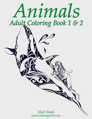 Animals Adult Coloring, Book 1 & 2