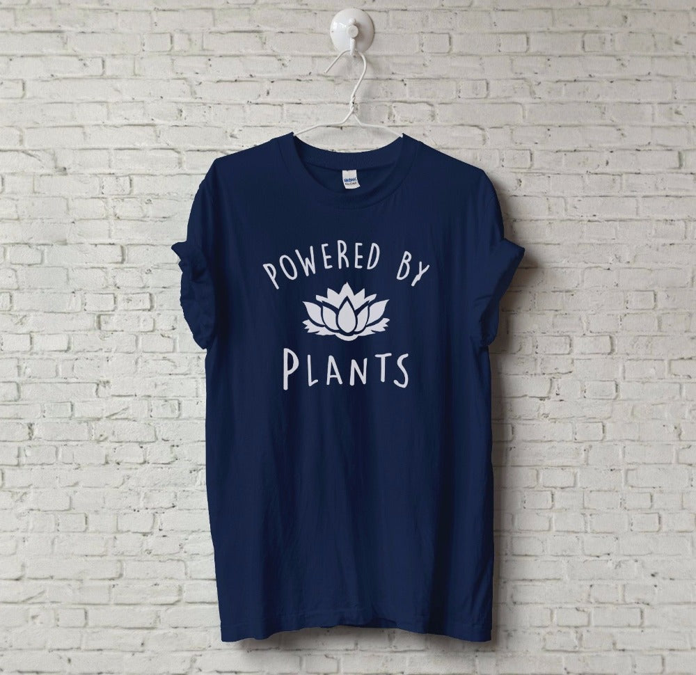 New Unisex Vegetarian Vegan POWERED BY PLANTS Tumblr T-Shirt Hipster Joke Tee Swag Unisex T-Shirt More Size and Colors-A958