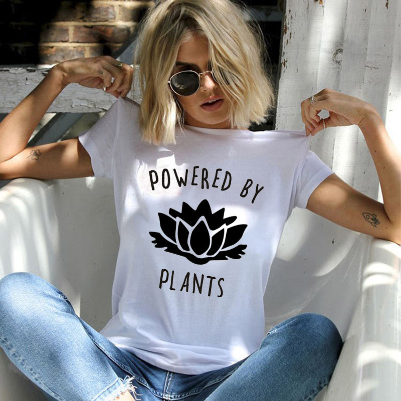 POWERED BY PLANTS Letter Floral Print Tshirt