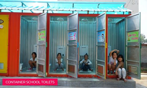 Container school toilets built by WTO under the Rainbow School Toilet Project
