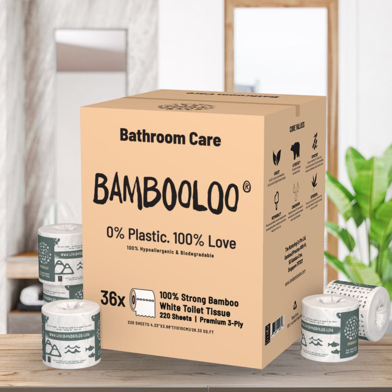 5LT of Nurturing Co. Sanitiser and 36 rolls of 3ply Bambooloo toilet roll Bundle. Home Care Bundle Bambooloo