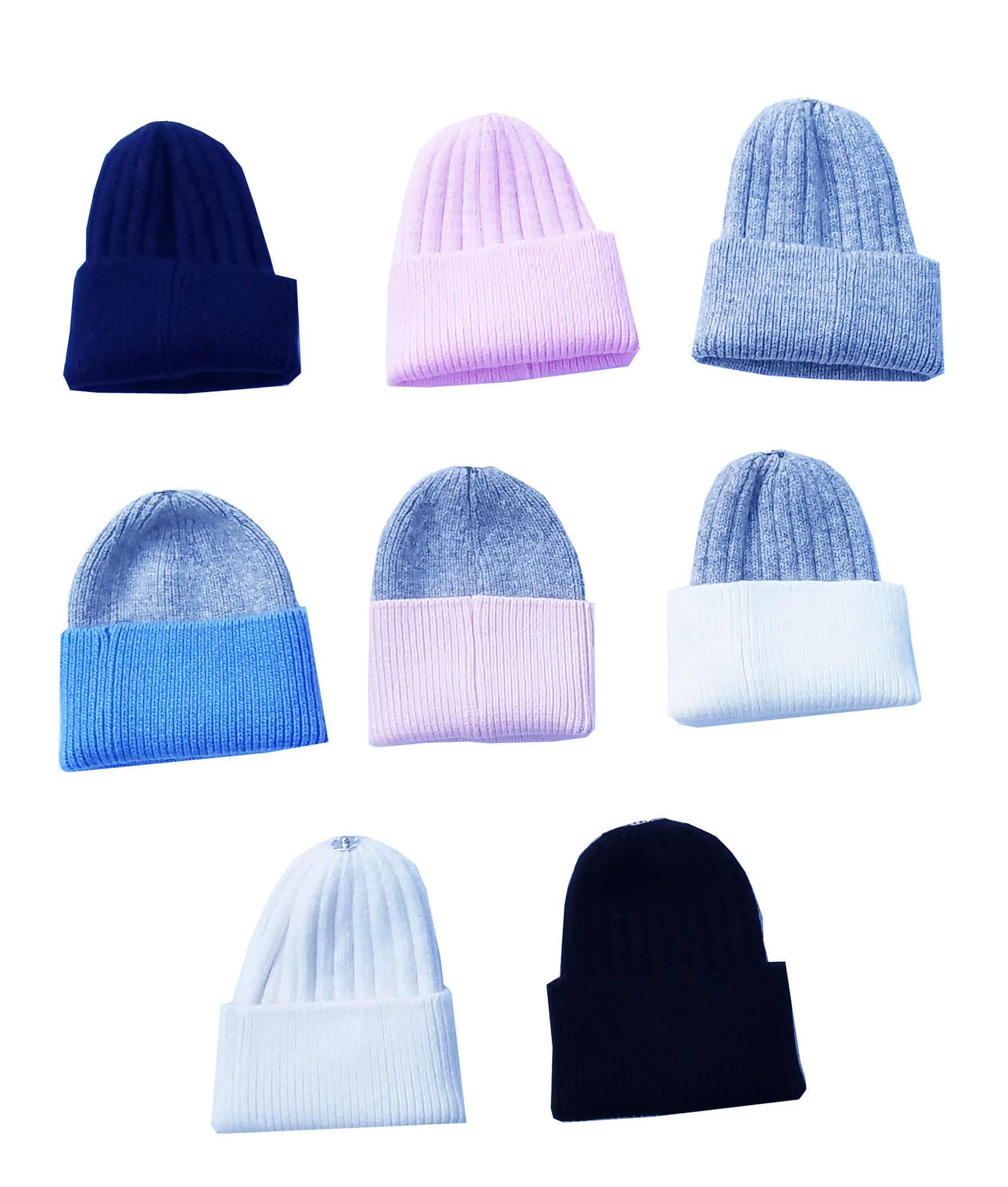 Cashmere Beanies Bee-nies No Pompom