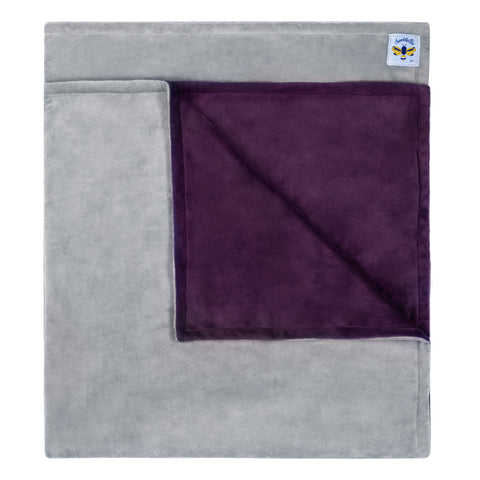Minky Bee Stroller Blanket PLC Jewel Purple/Grey