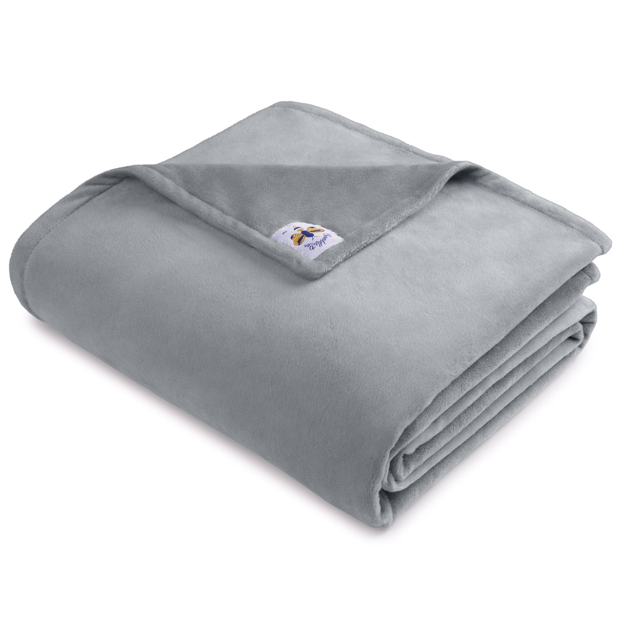 BiggerBee Minky Throw Blanket Solid Light Grey