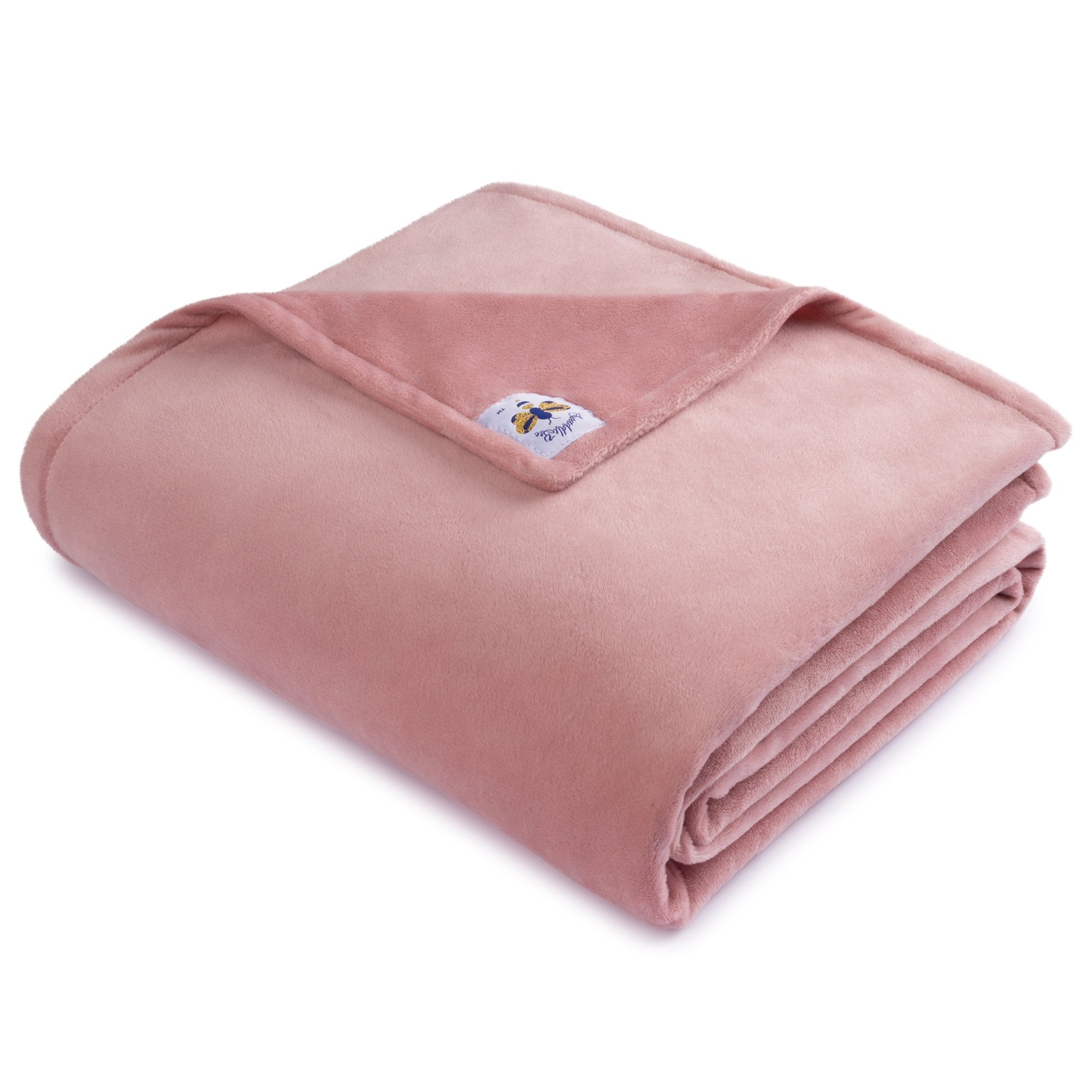 BiggerBee Minky Throw Blanket Solid Dusty Pink