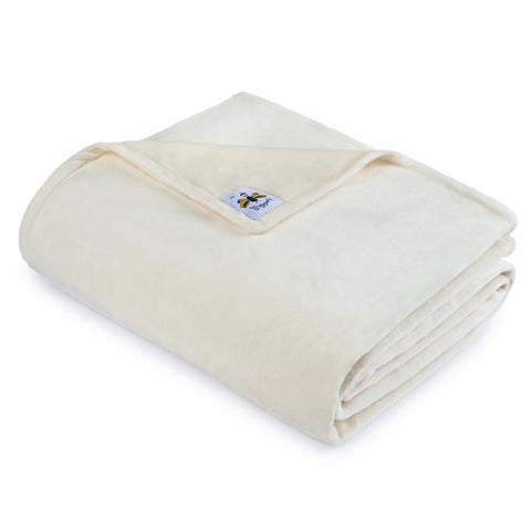 BiggerBee Minky Throw Blanket Solid Ivory
