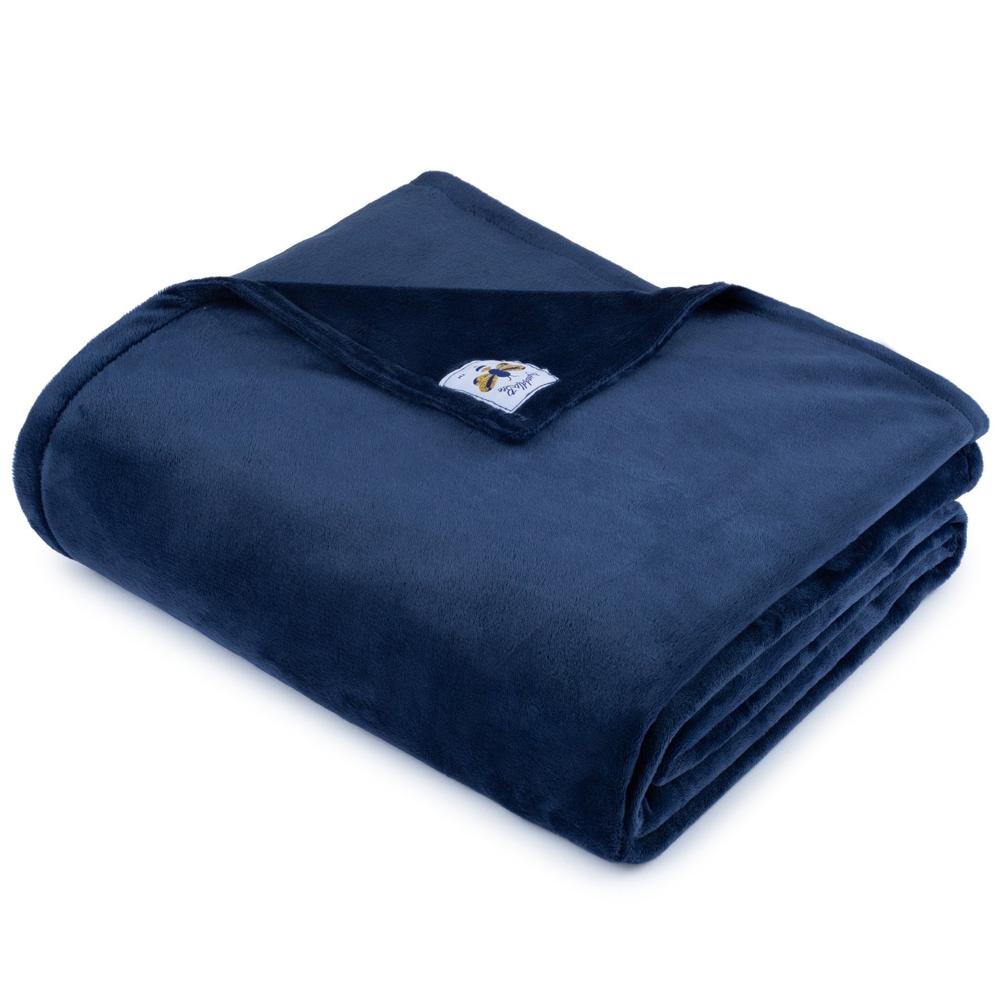 BiggerBee Minky Throw Blanket Solid Navy