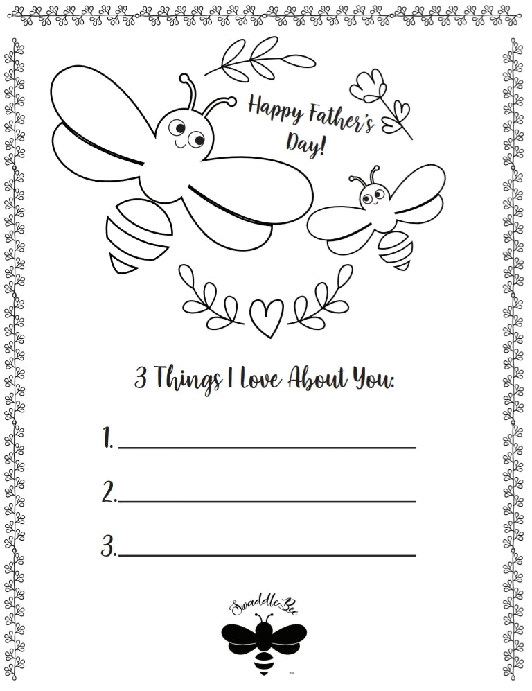 Swaddle Bee Coloring Book Free Printable Page 3 Father's Day Edition