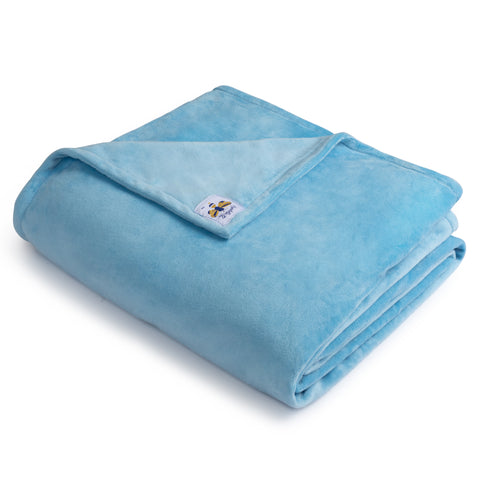 BiggerBee Minky Throw Blanket Solid Sky Blue