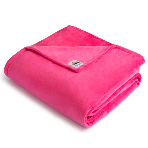 Bigger Bee Minky Throw Blanket HOT PINK