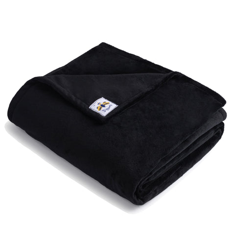 MegaBee Minky Throw Blanket Black