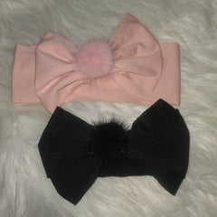 Thick Bow with Mink Fur Pom Headband