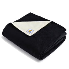 BiggerBee Minky Throw Blanket Black/Ivory
